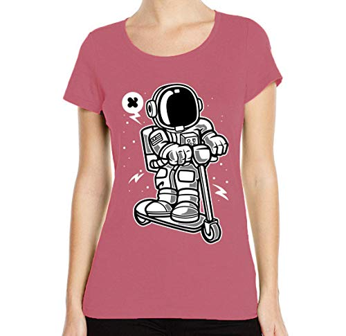 Iprints dames T-shirt cartoon styled astronaut scooting along scooter ronde hals